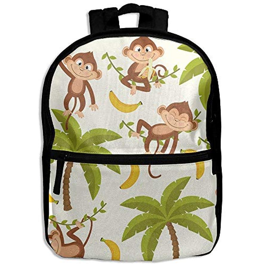 足枷出席する法律によりキッズバッグ キッズ リュックサック バックパック 子供用のバッグ 学生 リュックサック ヤシの木 猿 アウトドア 通学 ハイキング 遠足