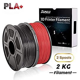 SUNLU 3D プリンター用PLA+ 樹脂 フィラメント       【1.75MM】 【2Kg】【黒+赤】【±0.02mm】 SUNLU3Dプリンタフィラメントについて、素材だけの重量は2KGです。公差は+/- 0.02mmです。 高純度成分と形の一貫性による渋滞防止 、高精度、光沢と耐久性のある様々な作品の制作に適合です。 SUNLU PLA+ 3Dプリンター用フィラメントは最❤高のPLA+フィラメントです!たくさんな色を選べます。出力がスムーズで、詰まりもありません。発色...