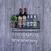 ウォールワインキャビネットウォールマウントワインラックディスプレイスタンドワイングラスホルダー逆さまのサスペンション家庭用ワインセラーバー複数のボトル (色 : 黒, サイズ さいず : 50 * 16.5cm)