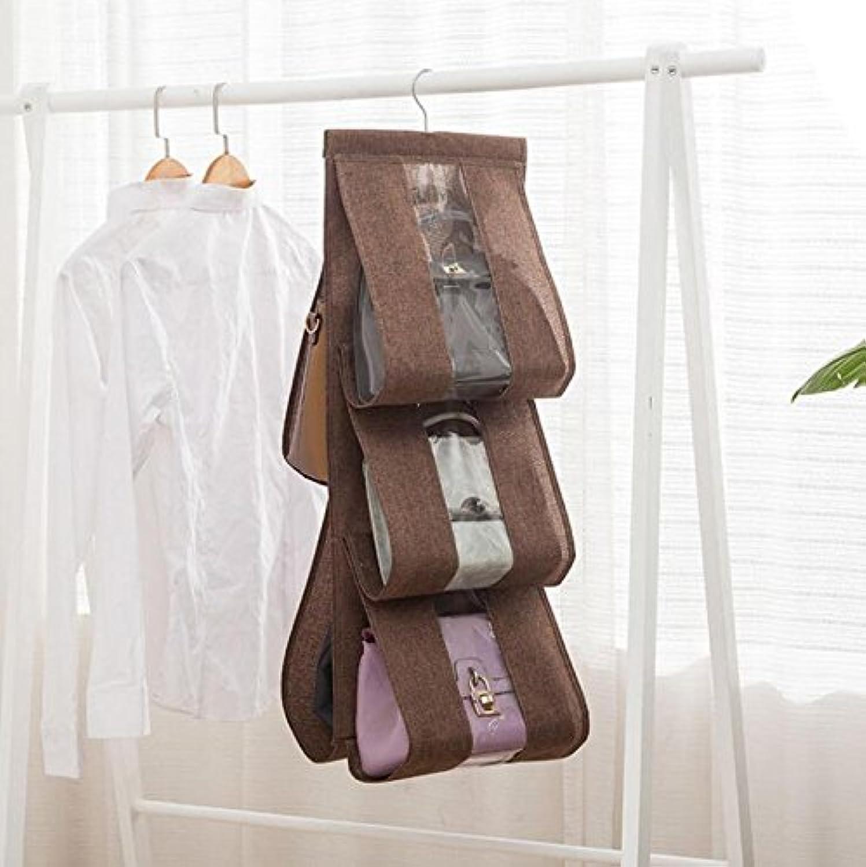 ZHIYUAN クローゼットハンギングハンドバッグオーガナイザー7ポケット財布収納袋、コーヒー