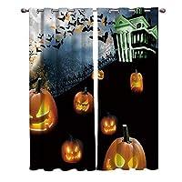 カーテン ハロウィン 恐怖 かぼちゃ 城 カーテン遮光 セットカーテン 断熱 節電対策 防寒 一人暮らし 洗濯可 9サイズから選ベる 祝日プレゼント 幅100cm/丈160cm(1枚)2枚組