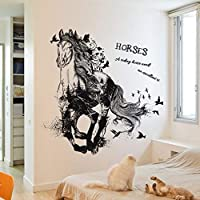 Unknown Black Running Horse Removable Cartoon Wall Stickers Living Room Sofa Background Home Decor Sticker Mural