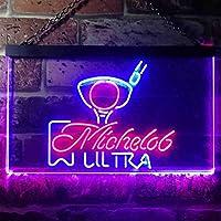 Michelob Ultra Golf Ball LED看板 ネオンサイン バーライト 電飾 ビールバー 広告用標識 レッド+ブルー W30cm x H20cm