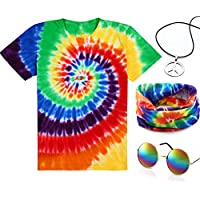 4 Pieces Hippie Costume Set, Include Colorful Tie-Dye T-Shirt, Peace Sign Necklace, Headband and Sunglasses for Theme Parties