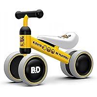XJD チャレンジバイク 子供用 バランス三輪車 軽量 発泡タイヤ おしゃれ シンプル ペダルなし自転車 誕生日プレゼントに最適 1-2歳幼児に向け (イェローダック4輪)