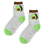 ユニセックス コットン ロークルーソックス 可愛い 果物 カップル 靴下 5足組 22.5cm-26.5cm適合 アボカド
