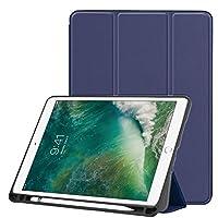 iPad Pro 10.5 ケース Apple Pencil収納 スタンド機能 10.5インチ iPad Pro 保護カバー シンプル 三つ折タイプ 全面保護型 傷つけ防止 iPad Pro10.5手帳型ケース PU 便利なペンホルダー付き New iPad Pro 10.5 Case 全7色[オート スリープ/スリープ解除] (ダーク ブルー)