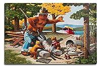Smokey Bear–Extinguishing左キャンプファイヤー–ヴィンテージポスター 12 x 18 Metal Sign LANT-79783-12x18M