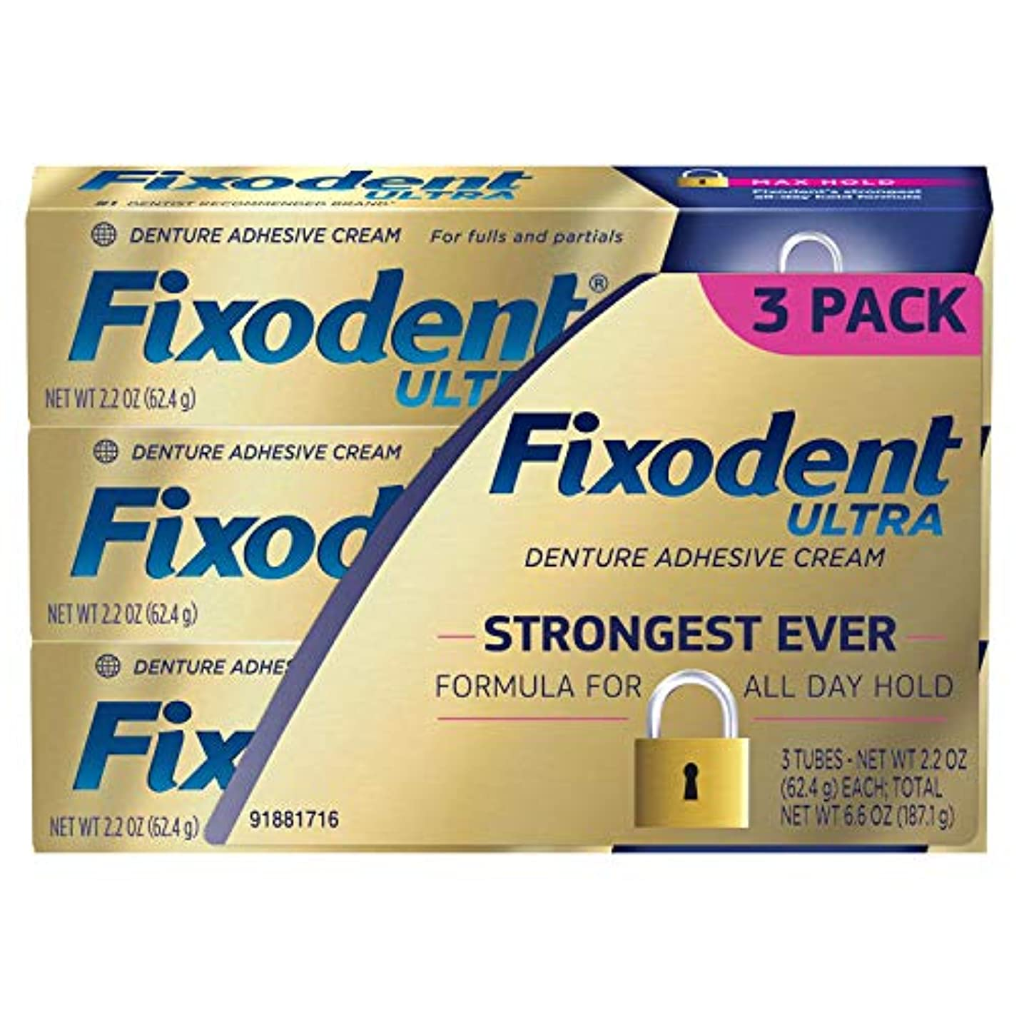 プライバシー契約に同意するFixodent ウルトラマックスホールド歯科用接着、2.2オンス - 3パック