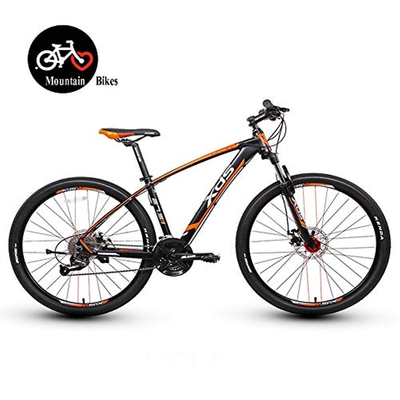恐ろしいですグレード入射27.5インチマウンテンバイク、大人のハードテールマウンテンバイク、27スピードデュアルディスクブレーキマウンテントレイルバイク、メンズ自転車アルミフレーム、オールテレーンマウンテンバイク,16 inch orange,27 speed