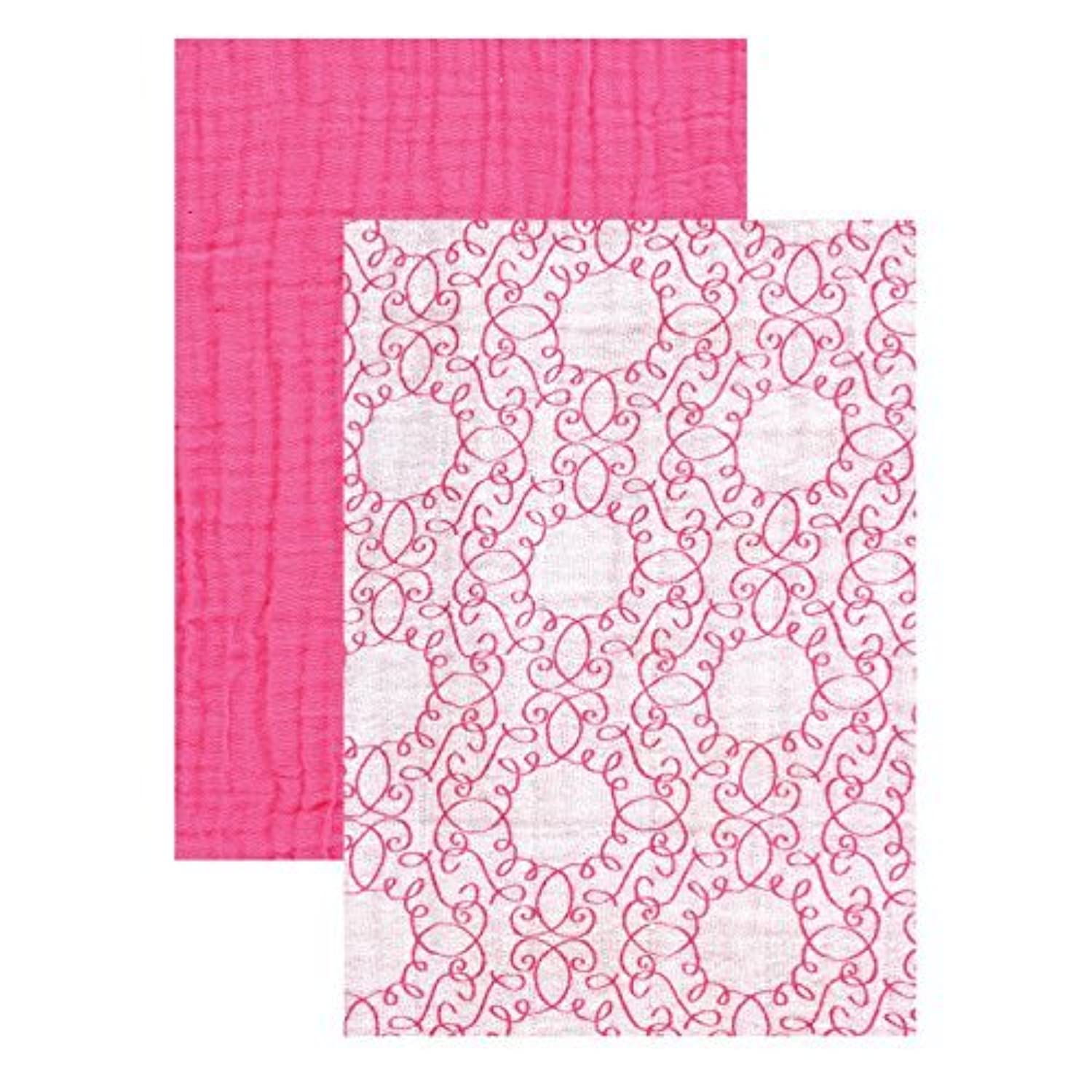 Yoga Sprout Muslin Swaddle Blankets, Pink Scroll/Teal Giraffe, 46
