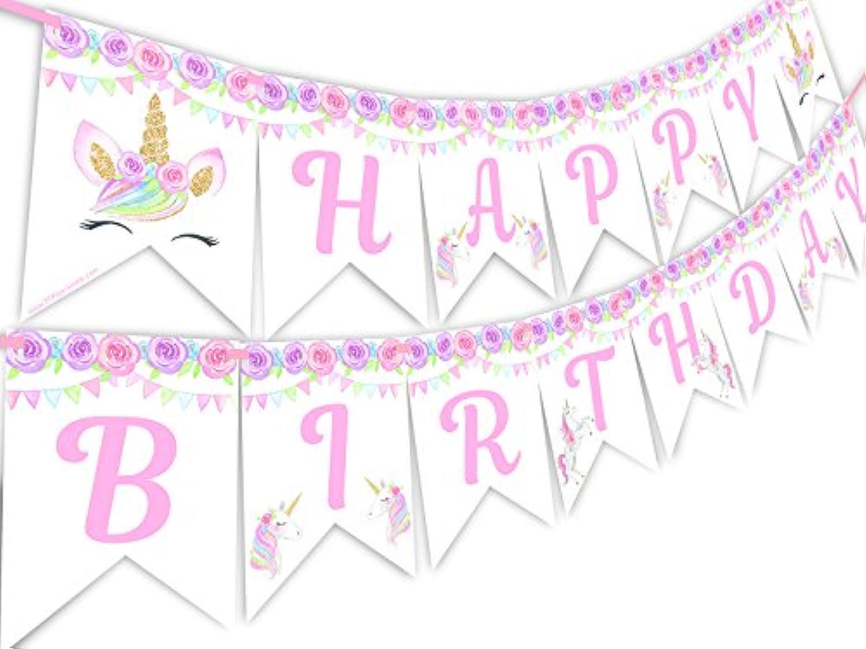 MagicalユニコーンLashesレインボーHappy誕生日バナーペナント