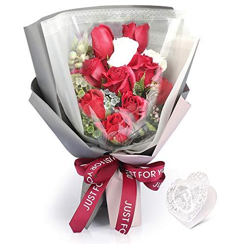 Fauhal ソープフラワー 造花 石鹸花束 バラ フレグランス シャボンフラワー 枯れない花 11輪 フラワーギフト 母の日 誕生日 結婚祝い 結婚記念日 大切な人への感謝 メッセージカード付き (赤い)