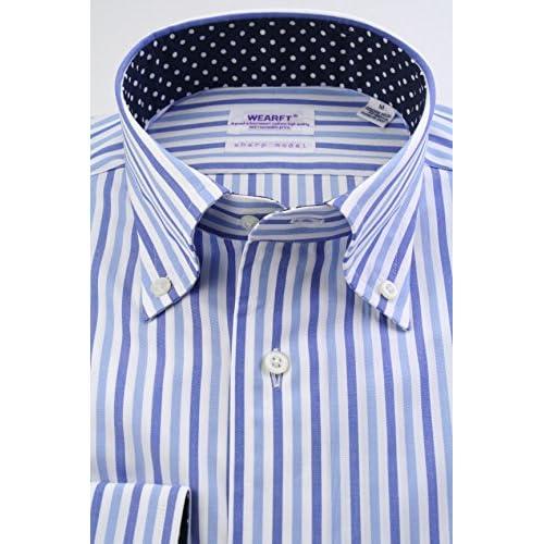 (スキャッティ) WEARFT ブルー系 マルチストライプ 衿裏配色 ボタンダウン (細身) ドレスシャツ bd4041-4185