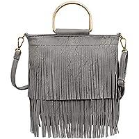 Ayliss Women Fringe Tassel Crossbody Bag Leather Shoulder Bag Hobo Handbag