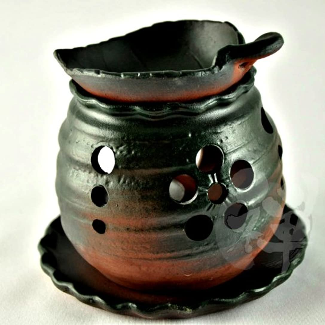 ロールカジュアル排出常滑焼 ゆとり 茶香炉 13.2*11.5cm[2989]