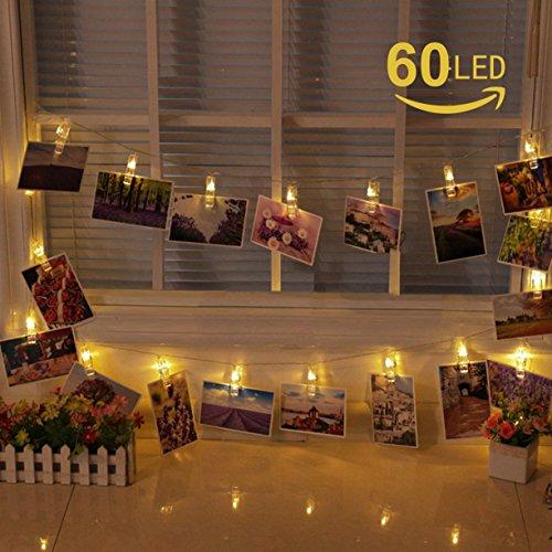 Elinker ストリングライト LEDイルミネーションライト 60写真クリップDIY 壁飾り点滅ライト 電源式銅線ワイヤーライト8パタンで切替可 60LED 7.5Mインテリア 電球色 パーティー デコレーション クリスマス電飾ライト