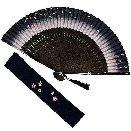 扇子 女性 扇子袋・ハンカチセット 桜舞(紺) 桐箱入り おしゃれ コットン 女性用 レディース 扇子