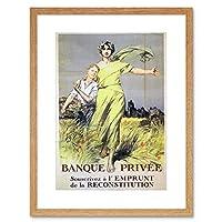 Bank Privee Reconstruction Loan France Vintage Retro Advert Art Framed Wall Art Print ローンフランスビンテージレトロ広告壁
