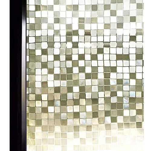 DUOFIRE 3D窓用フィルム 目隠しシート ガラスフィルム 断熱 遮光 結露防止 紫外線UVカット 水で貼る 貼り直し可能 装飾フィルム おしゃれ [モザイク014] (0.9M X 4M)