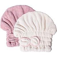 Gogogu ヘアドライタオル キャップ 長い髪専用 化粧用 お風呂用 便利 吸水 速乾 ヘアドライヤーなし 2点セット