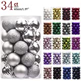 KI Store 34ct SMALL Christmas Baubles Ornaments Shatterproof Christmas Tree Decorations for Xmas Party Wedding Decor Ornaments Hooks included (40mm, Silver)