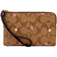 Coach Signature Canvas Corner Zip Wristlet with Smooth Leather Details