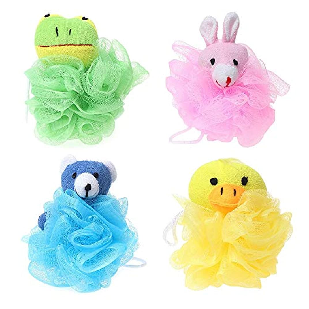幾何学制裁ゆでるNrpfell 子供用おもちゃクッションパフメッシュぬいぐるみ付き(4パック)カエル、アヒル、ウサギ、クマ