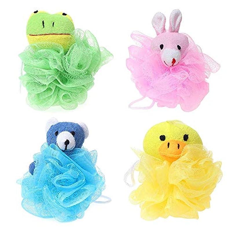 カテゴリーネックレス濃度Nrpfell 子供用おもちゃクッションパフメッシュぬいぐるみ付き(4パック)カエル、アヒル、ウサギ、クマ