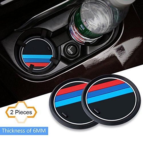 S-WEKA 2PCS Mラインカーインテリアアクセサリーアンチスリップカップマット 適用車種:BMW 1 3 5 7シリーズ F30 F35 320li 316i X1 X3 X4 X5 X6(直径2.9