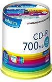 三菱化学メディア Verbatim CD-R 1回記録用 48倍速 スピンドルケース100枚パック ワイド印刷 ホワイトレーベル SR80FP100V1E