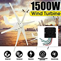 1500W 12V / 24 V / 48ボルト6ブレイド+コントローラー風力タービン水平ホーム風力発電機発電風車,48V