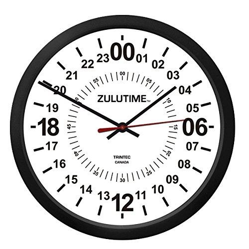 """(トリンテック) TRINTEC ズール(Zulu Time) 壁掛時計(白) 24時間 - 10""""  (24時間時計)"""