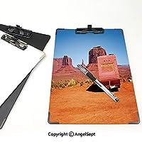 クリップボード A4サイズ対応 レンジップボード 原始的な国の装飾 作業用ペーパーホルダー (2個)放棄されたキャラバンモニュメントバレーアリゾナ砂漠乾燥した国装飾オレンジピンクブルー