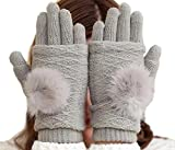 [kuro&Ardor] とっても かわいい レディース あったか 手袋 防寒 暖かい ファー 2枚重ね 2way ハンドウォーマー 冬 灰色 通勤 通学 (グレー)