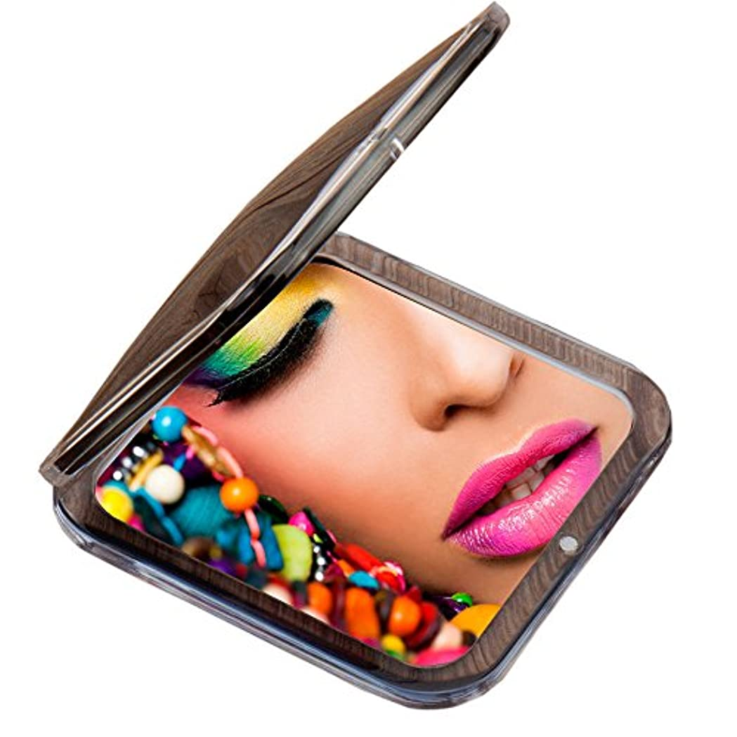 きらめく音声常習的Miss Sweet コンパクトミラー 両面鏡 化粧鏡 1倍*10倍拡大鏡 (Black)