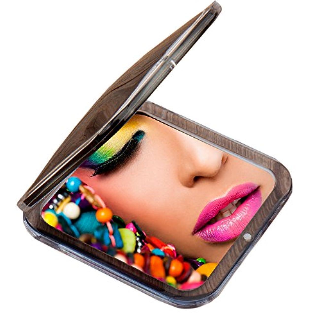 新年ドック贅沢Miss Sweet コンパクトミラー 両面鏡 化粧鏡 1倍*10倍拡大鏡 (Black)