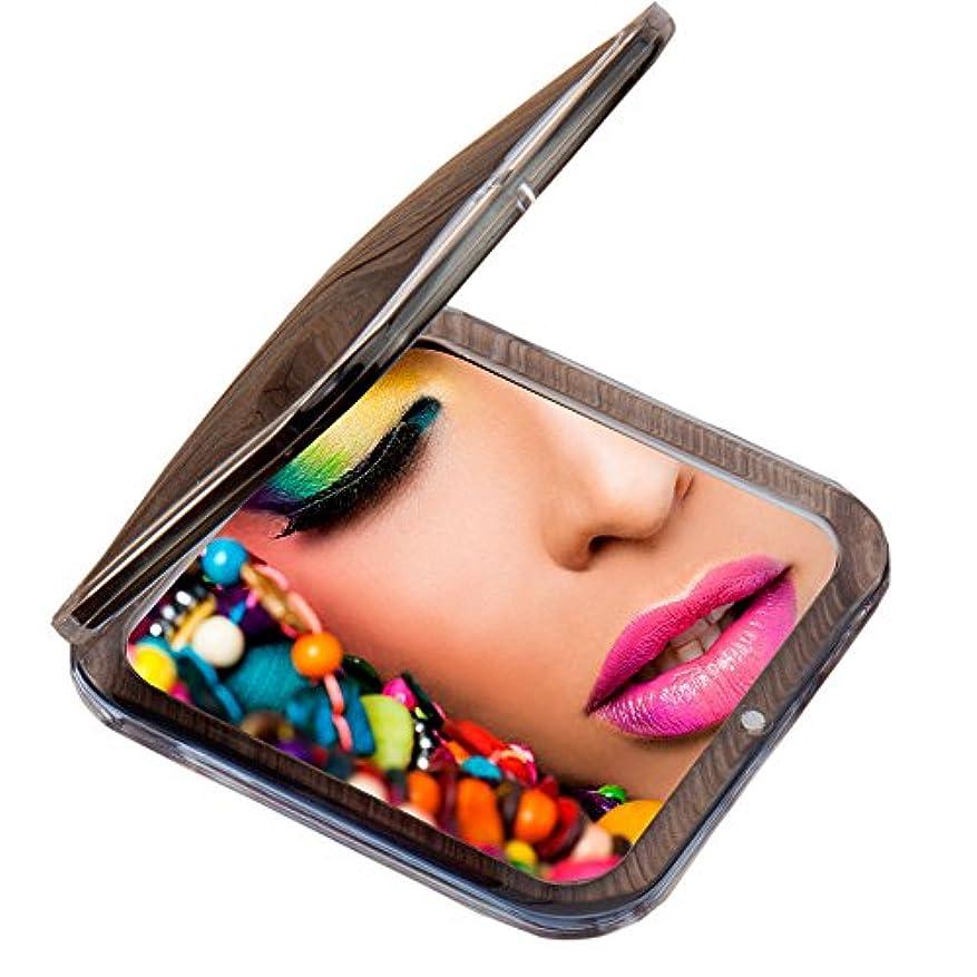 活力せせらぎスマイルMiss Sweet コンパクトミラー 両面鏡 化粧鏡 1倍*10倍拡大鏡 (Black)