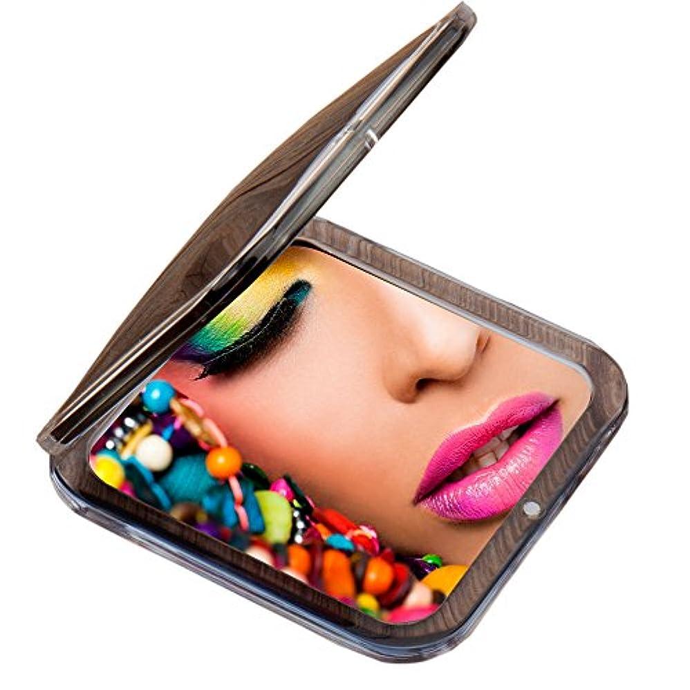 海カストディアン気づくMiss Sweet コンパクトミラー 両面鏡 化粧鏡 1倍*10倍拡大鏡 (Black)
