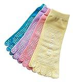 (ニャンドゥー) Nyan-Deux レディース 靴下 5本指ソックス 足裏すべり止め付き 単色ソリッドカラー 3足 or 4足セット