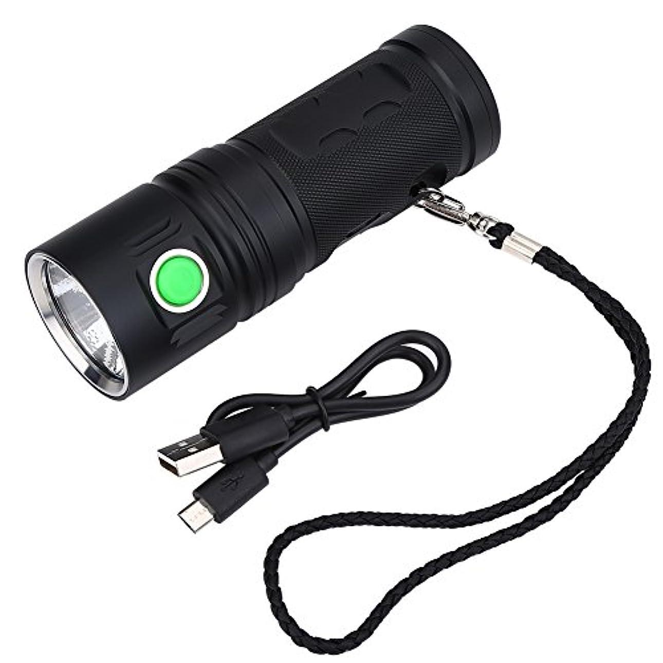 サッカーフォームサーマルLEDハンドルライト 懐中電灯 3500lmトーチライト 防水 超高輝度 3つのモード USB充電可能 ブラック