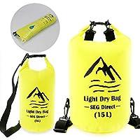 SEG Direct 軽い防水バッグ キャンプ、カヤック、釣り、カヌー、ウィンドサーフィン、他のウォータースポーツ用 - 15L + 5L 黄色