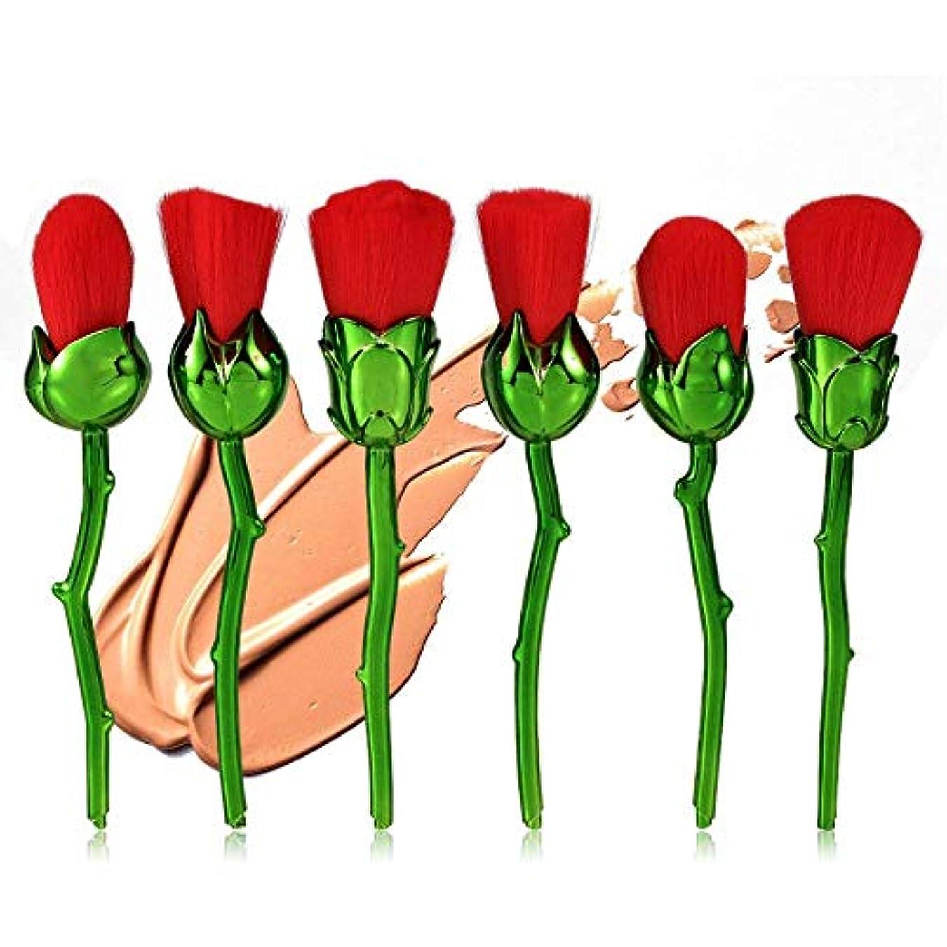 飲み込むのりミュートメイクブラシセット、6個の赤いローズ形状のファンデーションブラッシャーパウダーフェイス化粧道具