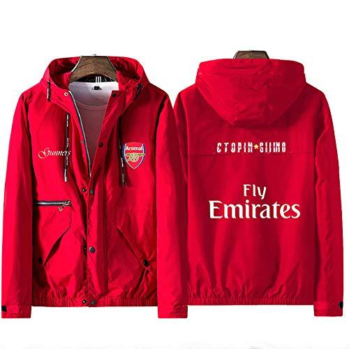 メンズフルジップフットボールフーディーアーセナルフットボールクラブトレーニングウェアユニフォームスポーツスウェットシャツユニセックスジャケット(シャツなし),red,L(168-170cm)