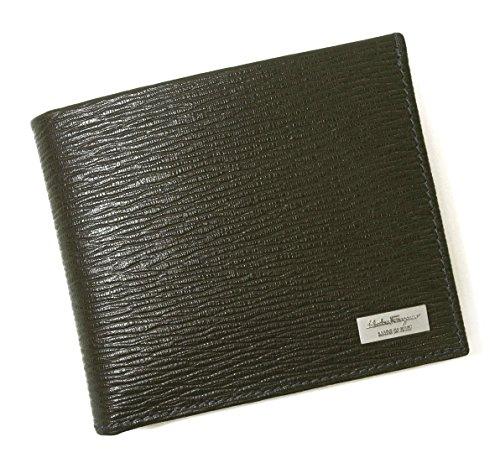 [フェラガモ] 財布 二つ折 型押し ペブルカーフ(ダークグレー×ブルー) SF-2234 [並行輸入品]
