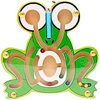 SONONIA 2セット カエル 木製 スロット マグネットビーズ 迷路ボードゲーム パズル玩具 グリーン