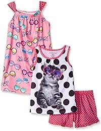 Komar Kids Girls ' 3 Piece Sleepwear Set Cat Short Set with Sunglass印刷ガウン