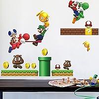 ウォールステッカー スーパーマリオ  壁紙シール マリオ super mario ウォールステッカー  ウォール ステッカー ポスター シール (B:45cm*60cm)