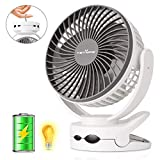 KEYNICE Clip Fan with Night Light, USB Desk Fan with Rechargeable 4400mAh Battery, Stroller Fan, Battery Operated Fan, Portable Camping Fan, Personal Cooling Fans for Home Office Camping- White