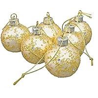 クリスマスボール 装飾 ゴールド 40mmx6個入り リーフ模様 クリスタル オーナメンントボール
